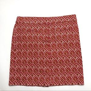 Dalia Collection Modern Fit Pink/Rust Print Skirt